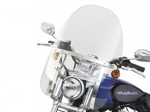 "QUICK-RELEASE COMPACT WINDSHIELD - 18"" Light Smoke - Fits Dyna + Sportster 58601-04"